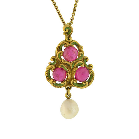 Art Nouveau 18kt Burmese Ruby Pearl Enameled Pendant Necklace