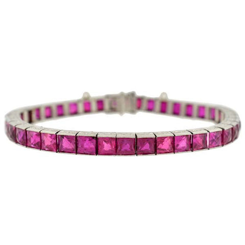 Art Deco French Cut Burmese Ruby Line Bracelet 20ct