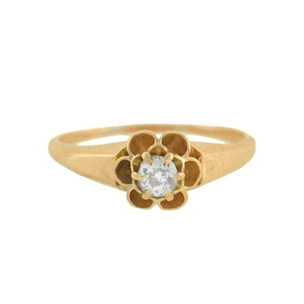"Victorian 14kt Mine Cut Diamond ""Buttercup"" Ring 0.10ct"