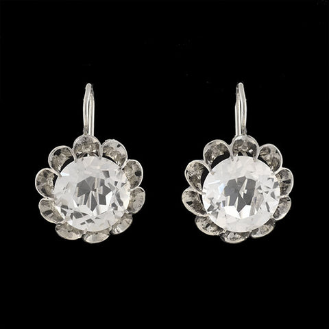 "Art Deco Large Sterling Silver & Crystal ""Buttercup"" Earrings"