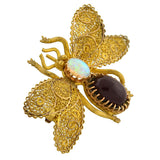 Art Deco 15kt Garnet & Opal Filigree Butterfly Pin