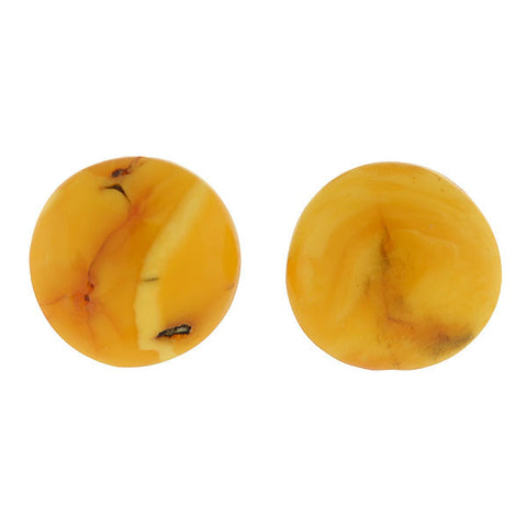 Vintage Sterling & Butterscotch Amber Stud Earrings