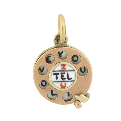 "Retro 9kt Enamel ""2 Tel U I Love You"" Telephone Charm"