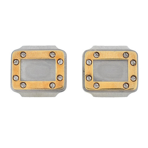 CARTIER Santos Vintage 18kt & Steel Screw Motif Cufflinks