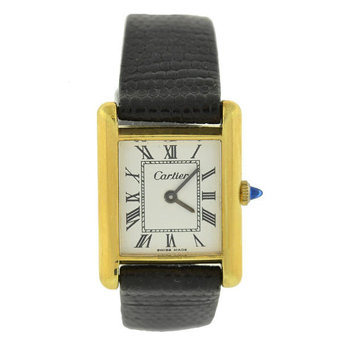 CARTIER Vintage 18k Electroplated Black Leather Tank Watch