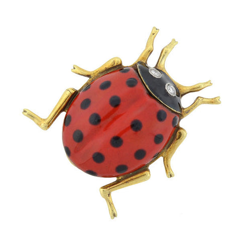CARTIER Vintage 14kt Enameled Diamond Lady Bug Pin