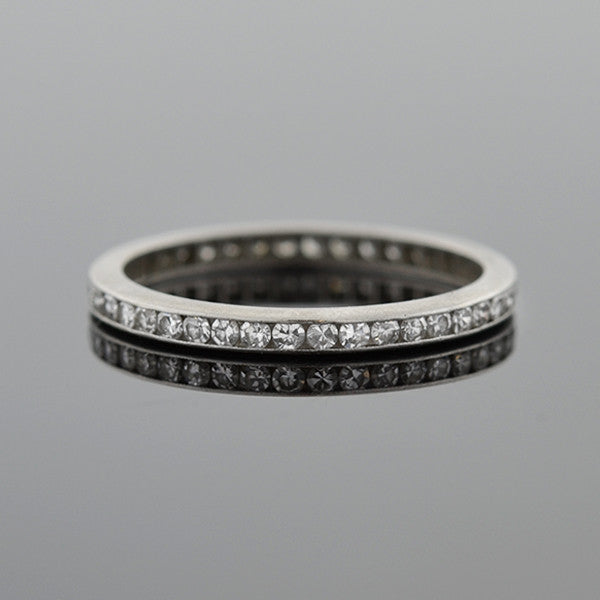 CARTIER Art Deco Platinum Single Cut Diamond Eternity Band .65ctw