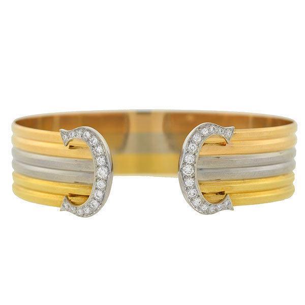 "CARTIER French 18kt Diamond ""Double C"" Tri-Color Bracelet"