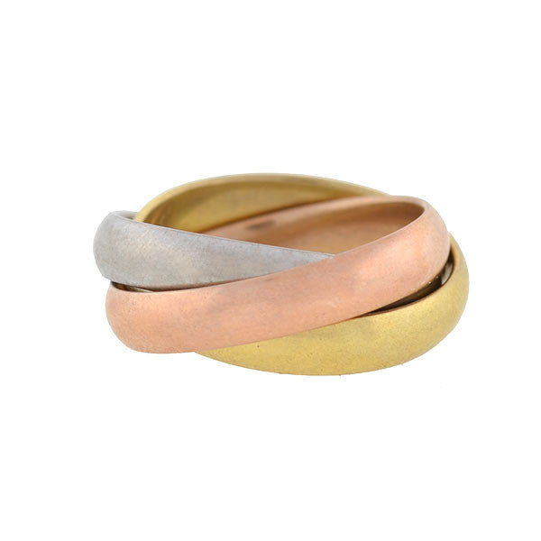 Estate 18kt Gold 3-Tone Trinity Roller Ring