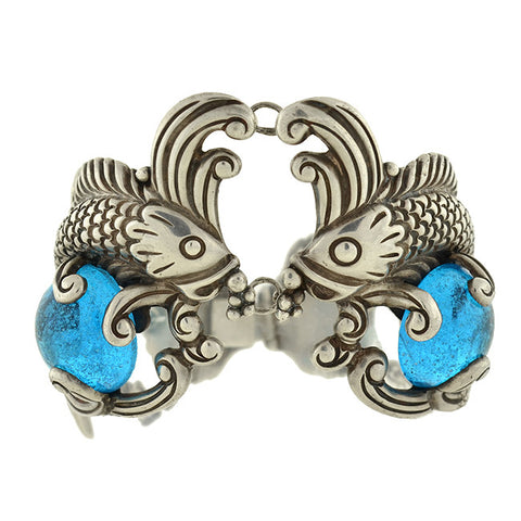 LOS CASTILLO Huge Vintage Sterling Fish & Blue Glass Bracelet