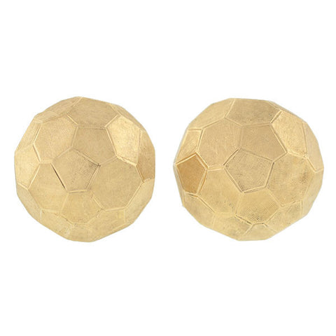 CELLINO Estate 14kt Faceted Gold Ball Clip Earrings