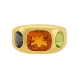 CHANEL Estate 18kt Gold Citrine, Peridot & Iolite Gypsy Ring