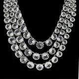 CHRISTIAN DIOR Vintage Three Strand Crystal Necklace
