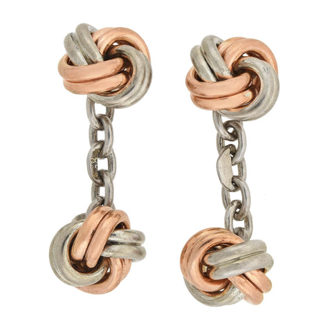 Late Art Deco Silver + Rose Gold Vermeil Love Knot Cufflinks