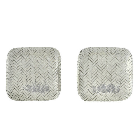 ANGELA CUMMINGS Vintage Sterling Herringbone Weave Clip-On Earrings