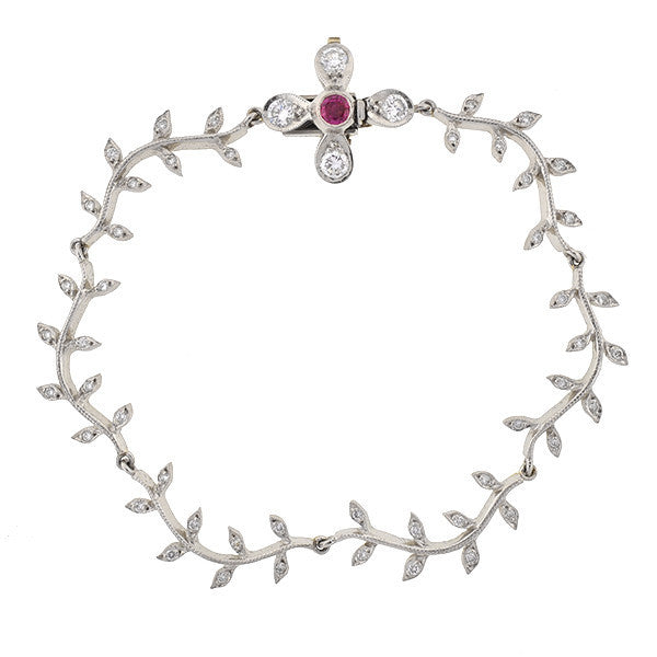 CATHY WATERMAN Estate Platinum Diamond & Ruby Flower Bracelet