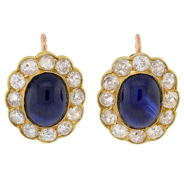 Victorian 18kt Cabochon Sapphire & Diamond Earrings