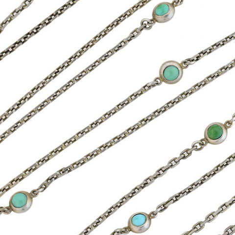 Victorian Long Continental Silver Turquoise Muff Chain 67""