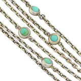 Victorian Long Continental Silver Turquoise Muff Chain 67