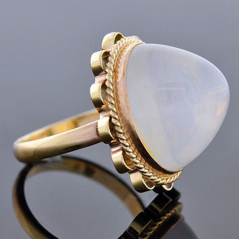 Estate 14kt Large Water Opal Cabochon Ring