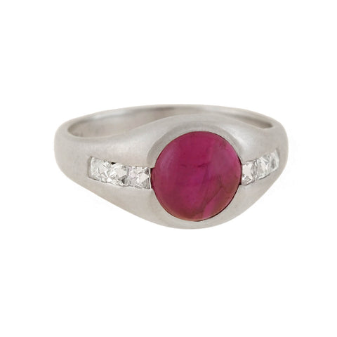 Edwardian Platinum Burmese Ruby + French Cut Diamond Ring 1.50ct center