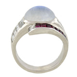 Retro Platinum Moonstone, Diamond & Ruby Ring