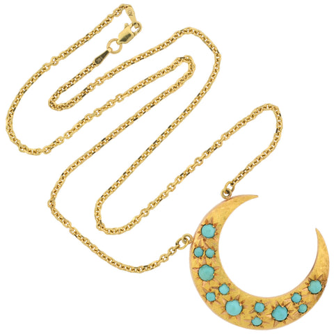 Victorian Revival 14kt Turquoise Crescent Pendant Necklace