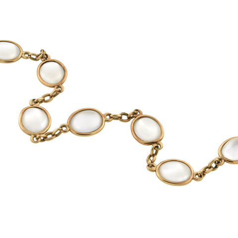 Retro 14kt Yellow Gold Moonstone Link Bracelet