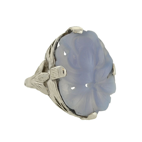 Art Deco Chinese Sterling Silver & Carved Chalcedony Ring
