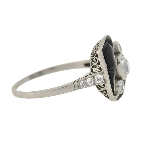 Art Deco Platinum Carved Onyx 3-Stone Diamond Ring