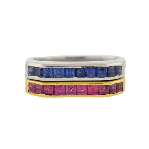 Estate 18kt Calibrated Ruby & Sapphire Square Band Rings