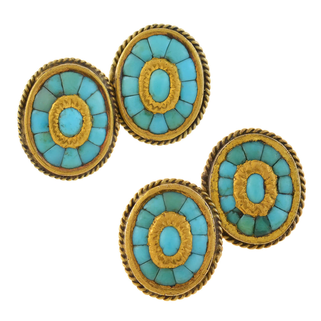 Victorian 15kt Inlaid Persian Turquoise Cufflinks