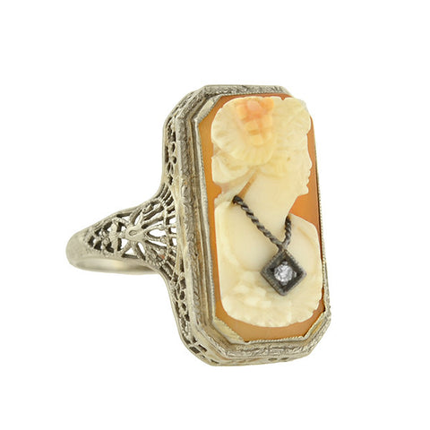 Art Deco 14kt Diamond Carved Cameo Ring
