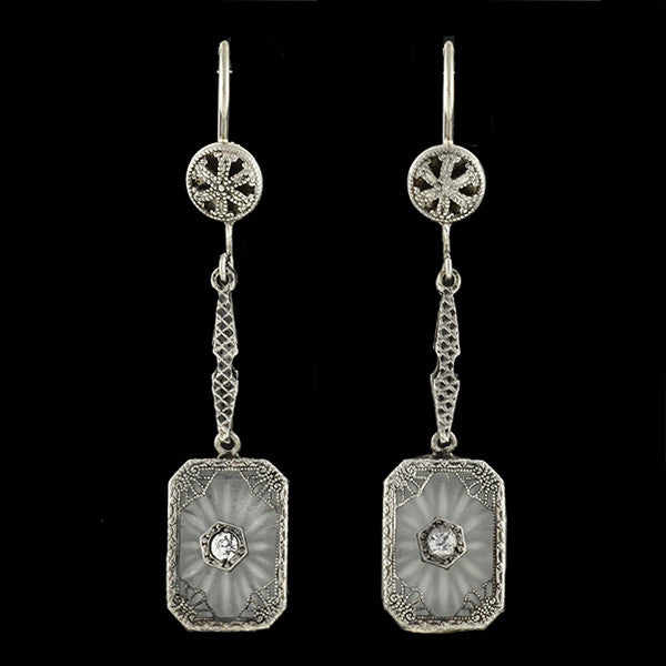 Art Deco Sterling Camphor Glass & French Paste Earrings