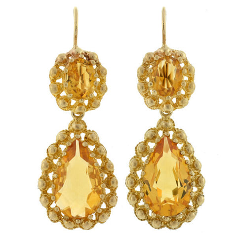 Victorian 14kt Teardrop Citrine Cannetille Earrings