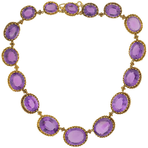 Victorian Large 15kt Faceted Amethyst + Cannetille Wirework Link Necklace 14.5""