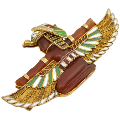 CARL BACHER Victorian Egyptian Revival 14kt Carnelian + Diamond Pharaoh Pin