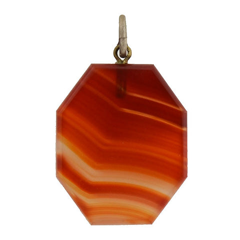 Victorian Sterling Carved Carnelian Octagonal Pendant