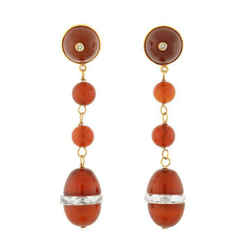 Art Deco 14kt Carnelian, Diamond + Rock Quartz Crystal Earrings