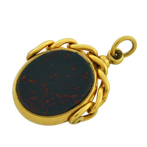Victorian English 9kt Carnelian + Bloodstone Spinner Fob