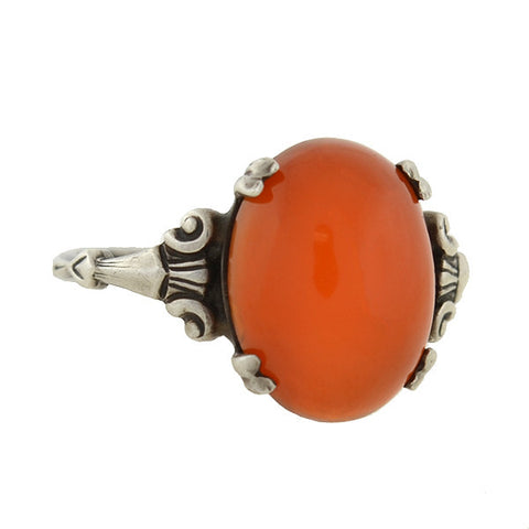 Art Deco Sterling Silver & Carnelian Cabochon Ring