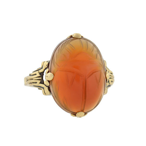 Victorian 10kt Gold & Carved Carnelian Scarab Ring
