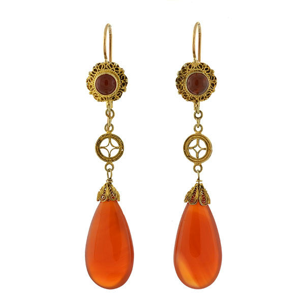 Art Deco Long Silver Gilt Carnelian Teardrop Filigree Earrings