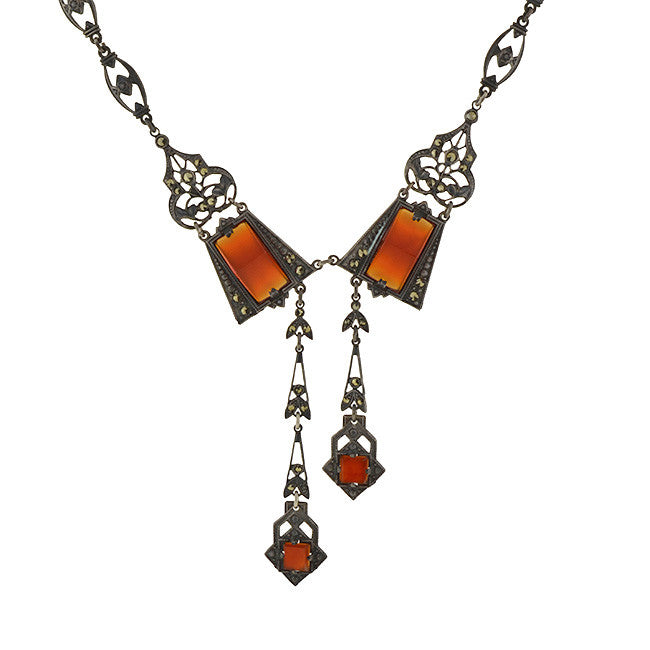 Art Deco Silver Carnelian Marcasite Filigree Necklace