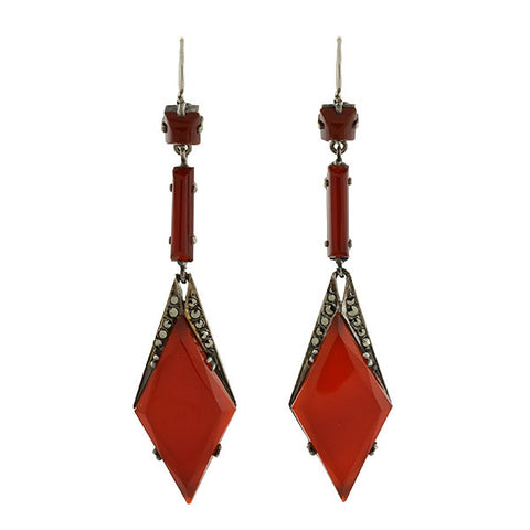 Art Deco Long German Silver Carnelian & Marcasite Earrings