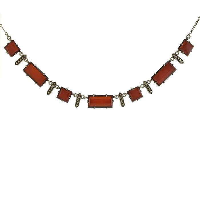 WACHENHEIMER BROS. Art Deco Sterling Carnelian Marcasite Necklace