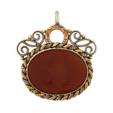 Victorian Mixed Metals Carved Carnelian Intaglio Fob/Pendant