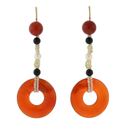 Art Deco 14kt Carnelian Onyx & Pearl Earrings