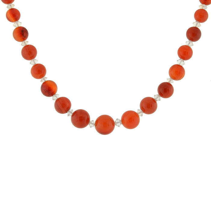 Art Deco Carnelian & Rock Quartz Crystal Bead Necklace
