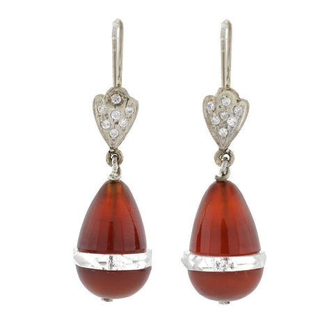 Art Deco 14kt Carnelian & Rock Quartz Crystal Earrings